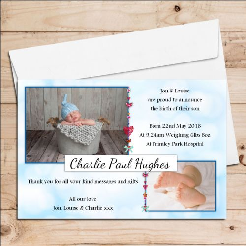 10 Personalised Baby Boy Birth Announcement Thank You Photo Cards N21